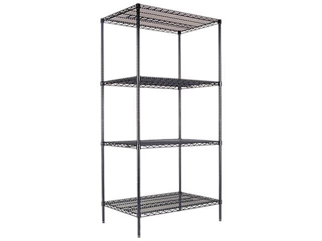 Alera SW50-3624BL Wire Shelving Starter Kit, 4 Shelves, 36w x 24d x 72h, Black