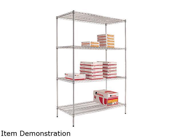 Alera SW50-4824SR (ALESW504824SR) Wire Shelving Starter Kit, 4 Shelves, 48w x 24d x 72h, Silver