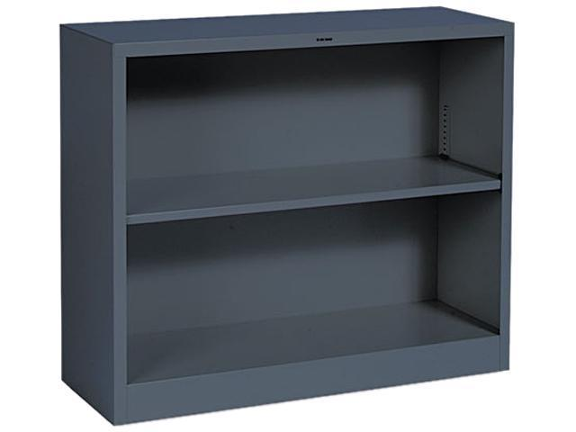 HON S30ABCS Metal Bookcase, 2 Shelves, 34-1/2w x 12-5/8d x 29h, Charcoal