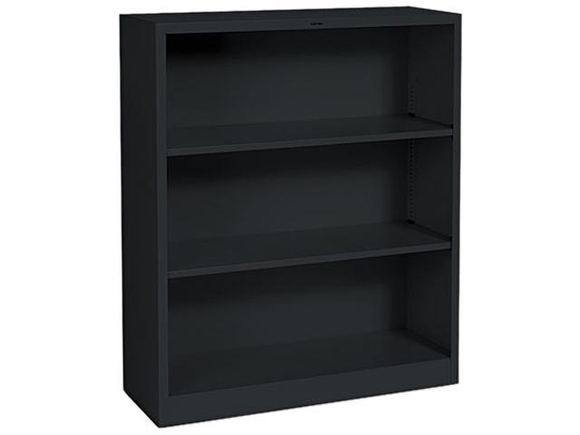 HON S42ABCP Metal Bookcase, 3 Shelves, 34-1/2w x 12-5/8d x 41h, Black