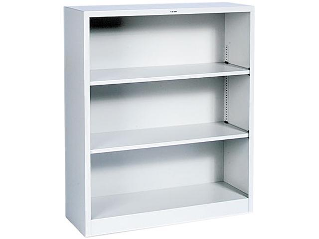 HON S42ABCQ Metal Bookcase, 3 Shelves, 34-1/2w x 12-5/8d x 41h, Light Gray