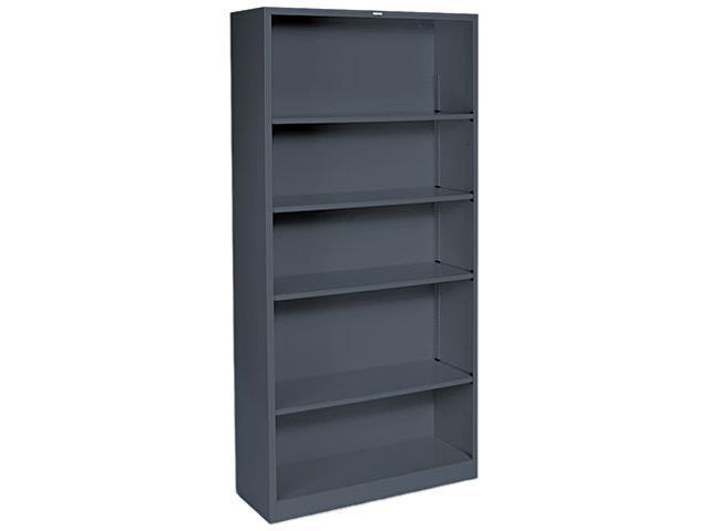 HON S72ABCS Metal Bookcase, 5 Shelves, 34-1/2w x 12-5/8d x 71h, Charcoal