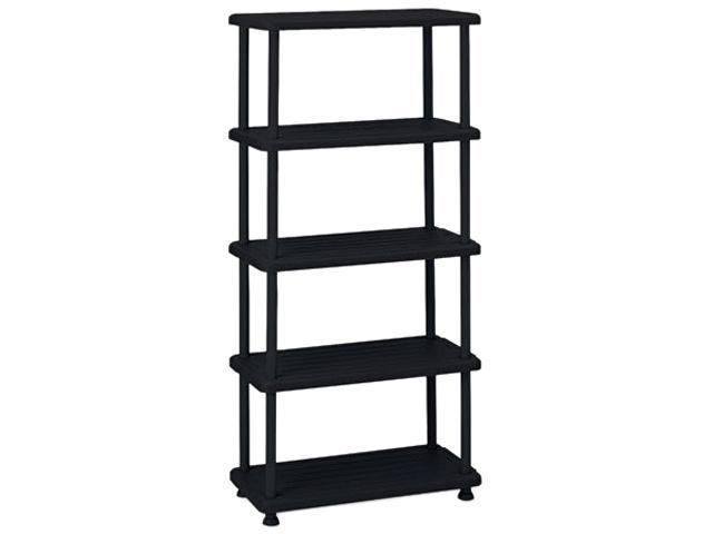 Iceberg 20851 Rough N Ready 5 Shelf Open Storage System, Resin, 36w x 18d x 74h, Black