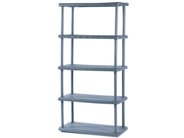 Iceberg 20852 Rough N Ready 5 Shelf Open Storage System, Resin, 36w x 18d x 74h, Charcoal