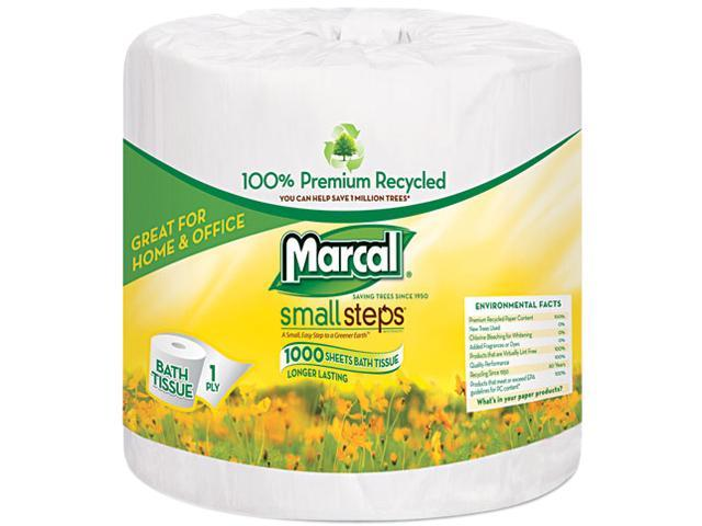 Marcal Small Steps 4415 100% Premium Recycled 1-Ply Bath Tissue, 1000 Sheets/Roll, 40 Rolls/Carton