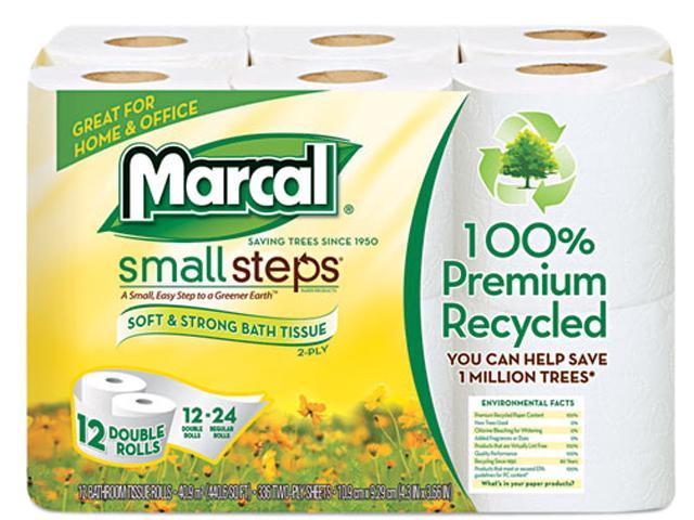 Marcal Small Steps 6112 100% Recycled Double Roll Bathroom Tissue, 12 Rolls/Pack