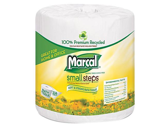 Marcal Small Steps 6079 100% Premium Recycled 2-Ply Embossed Toilet Tissue, 48 Rolls/Carton