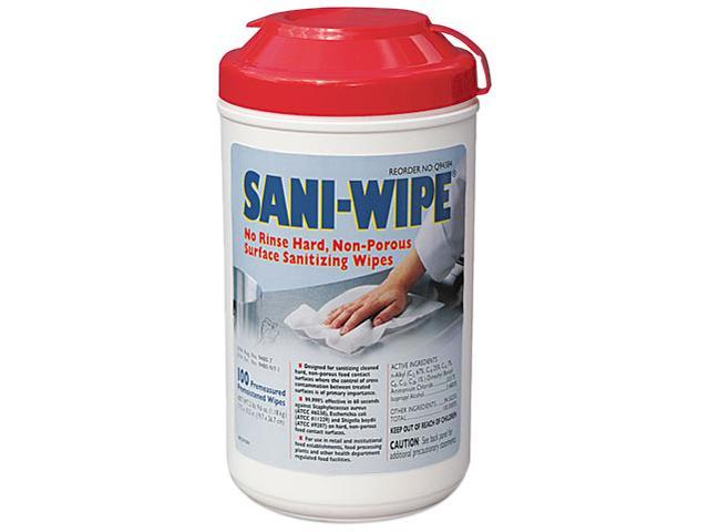 "Nice Pak Sani-Wipe Surface Sanitizing Wipes, 7.75"" x 10.5"", White, 100/Canister, 6/Carton"