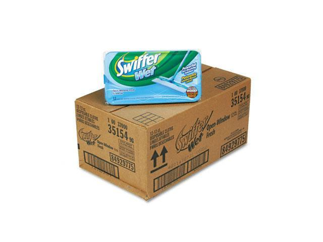 Swiffer 35154CT Wet Refill System, Cloth, White, 12/Box, 12/Carton