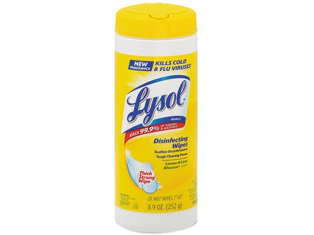 LYSOL Brand 81145 Lemon & Lime Blossom Disinfecting Wipes w/Micro-Lock Fibers, 7 x 8, 35/Canister