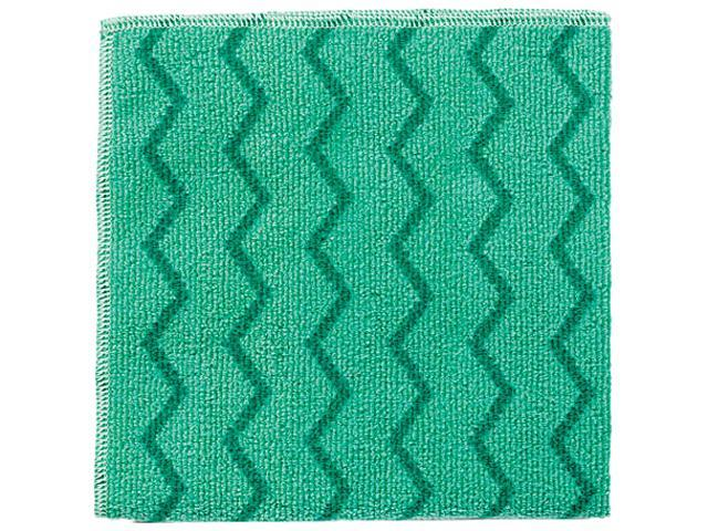 Rubbermaid Q620 Commercial Reusable Cleaning Cloths, Microfiber, 16 x 16, Green, 12/Carton, 1 Carton
