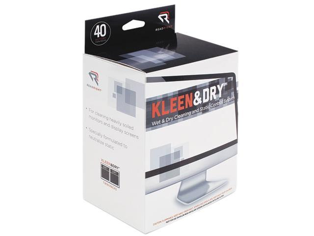 Read Right RR1305 Kleen & Dry Screen Cleaner Wet Wipes, Cloth, 5 x 5, 40 per Box