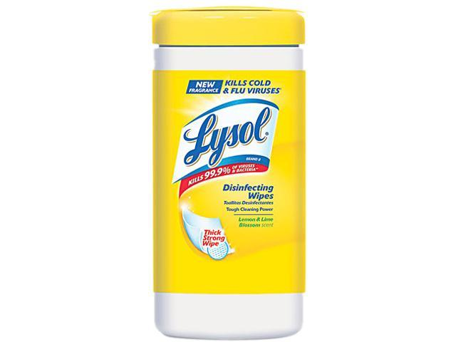 LYSOL Brand 77182EA Lemon & Lime Blossom Sanitizing Wet Wipes, 7 x 8, 80/Canister