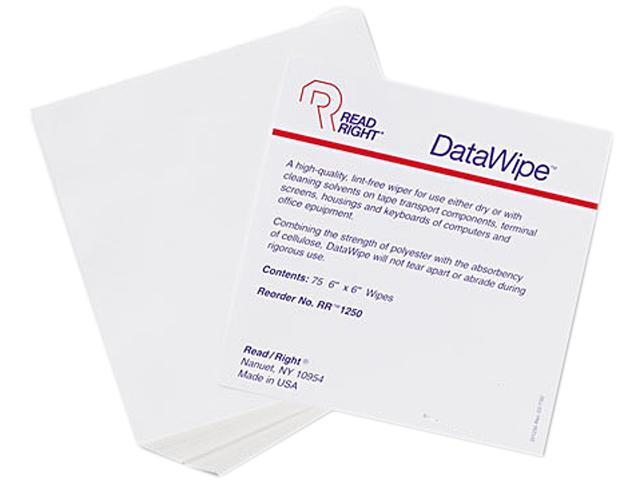 Read Right RR1250 DataWipe Office Equipment Cleaner, Cloth, 6 x 6, White, 75/Bag