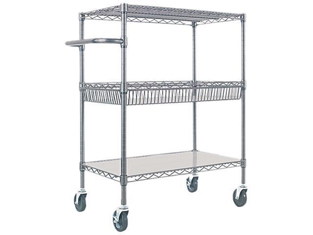 Alera ALESW543018BA Three-Tier Wire Rolling Cart, 30w x 18d x 40h, Black Anthracite