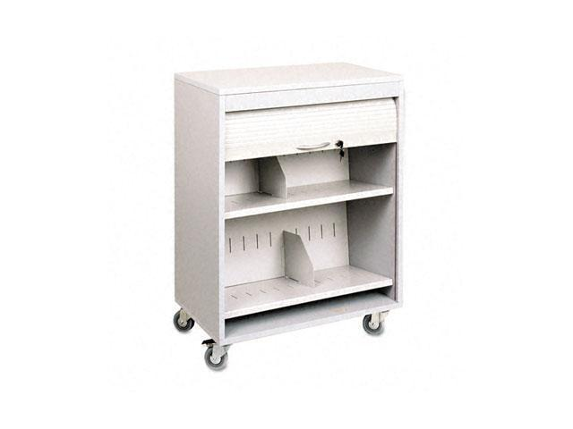 Buddy Products 5424-32 Tambour Locking Medical Cart, 2-Shelf, 26w x 17-3/4d x 34-3/16h, Platinum