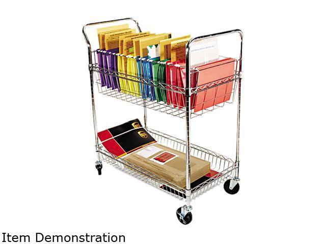 Alera ALEMC343722CR Wire Mail Cart, 2-Shelf, 34-1/4w x 21-1/2d x 39-1/2h, Chrome