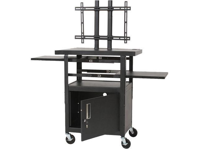 BALT 27530 Height-Adjustable Flat Panel TV Cart, 4-Shelf, 24w x 18d x 62h, Black, Includes 2 pullout shelves and LCD/plasma ...