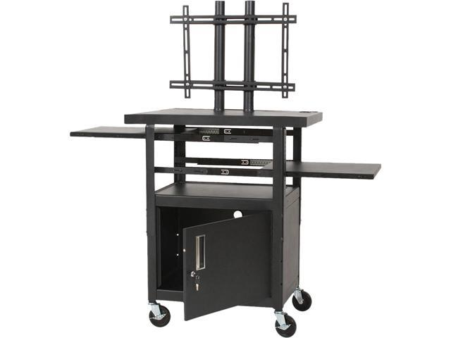BALT 27532 Height-Adjustable TV Cart, Four-Shelf, 24w x 18d x 62h, Black, Includes 2 pullout shelves and LCD/plasma mounting ...