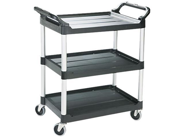 Rubbermaid Commercial 342488BLA Economy Plastic Cart, 3-Shelf, 18-5/8w x 33-5/8d x 37-3/4h, Black