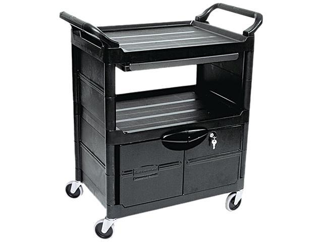 Rubbermaid Commercial 345700BLA Utility Cart w/Locking Doors, 2-Shelf, 33-5/8w x 18-5/8d x 37-3/4h, Black