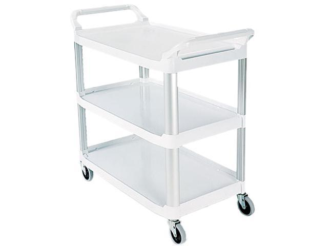 Rubbermaid Commercial 409100CM Open Sided Utility Cart, 3-Shelf, 40-5/8w x 20d x 37-13/16h, Off-White