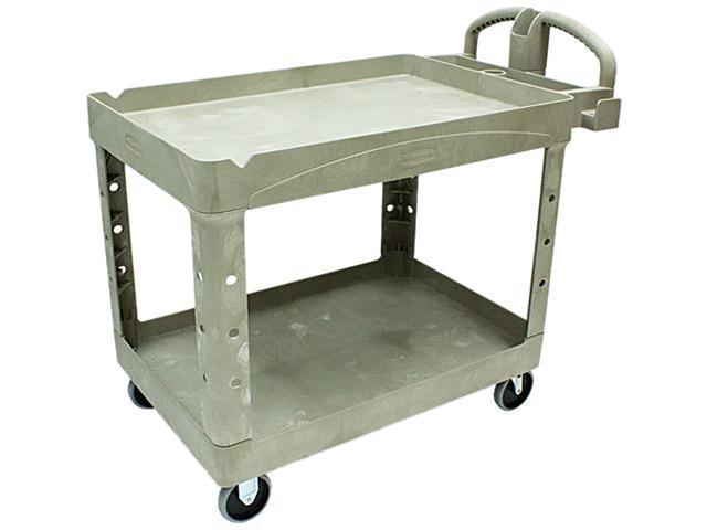 Rubbermaid Commercial 452088BG Heavy-Duty Utility Cart, 2-Shelf, 25-7/8w x 45-1/4d x 33-1/4h, Beige