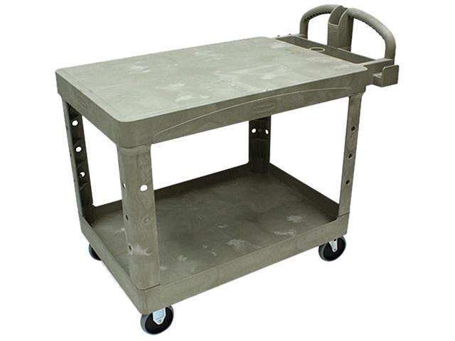 Rubbermaid Commercial 452500BG Flat Shelf Utility Cart, 2-Shelf, 25-5/8w x 43-7/8d x 33-1/3h, Beige