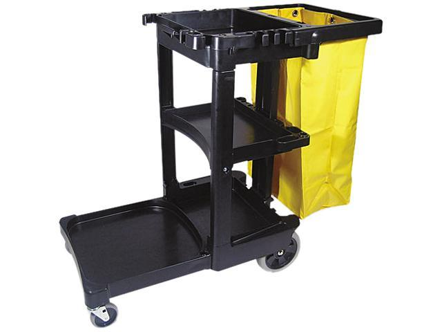 Rubbermaid Commercial 617388BK Multi-Shelf Cleaning Cart, 3-Shelf, 20w x 45d x 38-1/4h, Gray