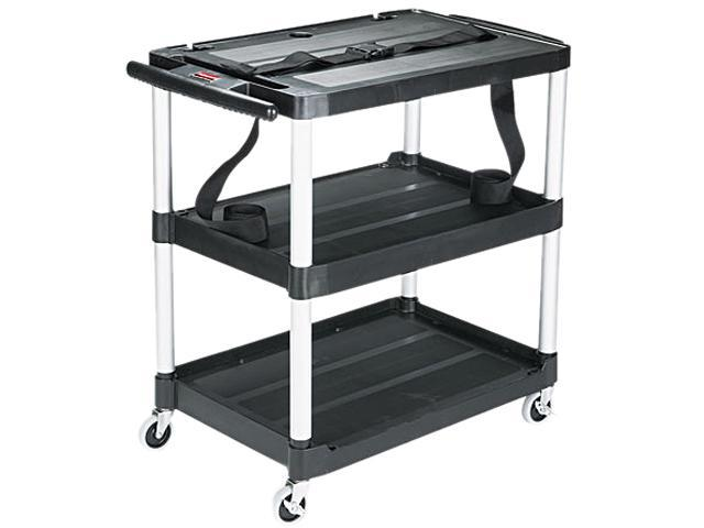 Rubbermaid Commercial 9T28 Media Master AV Cart, 3-Shelf, 18-3/4w x 32-3/4d x 33h, Black