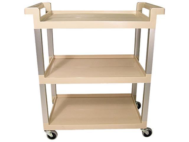 Rubbermaid Commercial 9T6571BG Service Cart w/Brushed Aluminum Upright, 3-Shelf, 16-1/4w x 31-1/2d x 36h, Beige