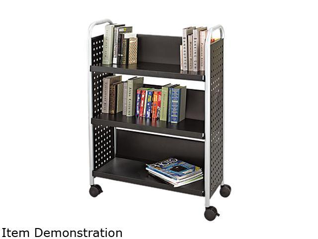 Safco 5336BL Scoot Book Cart, 3-Shelf, 32-1/2w x 14-1/4d x 44-1/4h, Black