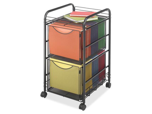 Safco Onyx Mesh Mobile Double File, 1-Shelf, 15-1/2 x 17-1/4 x 27-1/4, Black
