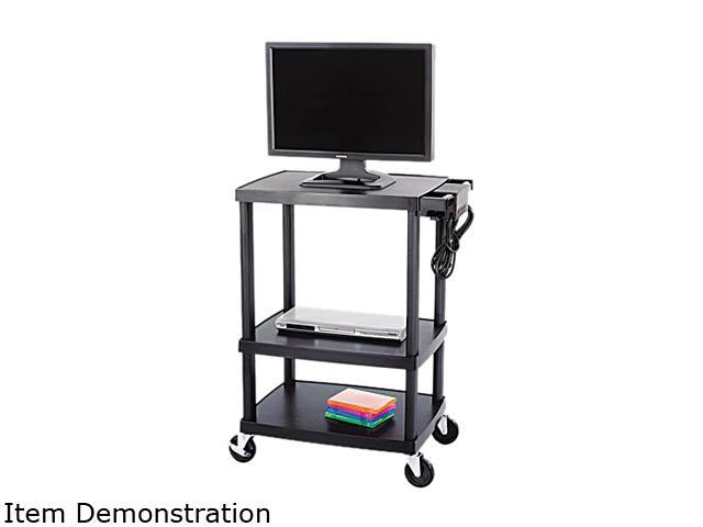Safco 8933BL Multimedia Cart, 3-Shelf, 27-3/4w x 18-1/2d x 32-1/2h, Black