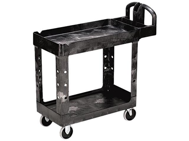 Rubbermaid 450088BK Heavy-Duty Utility Cart, Two-Shelf, 17-1/8w x 38-1/2d x 38-7/8h, Black