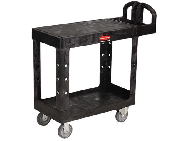 Rubbermaid Flat Shelf Utility Cart, 2-Shelf, 500lbs, 19 x 38 x 33-1/3, Black
