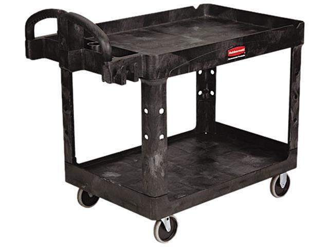 Rubbermaid 452088BK Heavy-Duty Utility Cart, Two-Shelf, 25-1/4w x 44d x 39h, Black