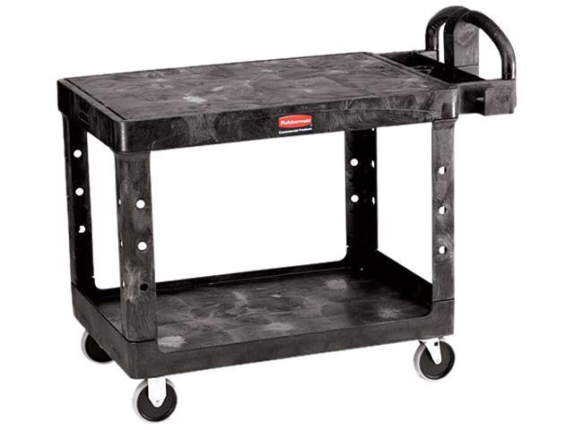 Rubbermaid Flat Shelf Utility Cart, 2-Shelf, 500lbs, 26 x 44 x 33-1/3, Black