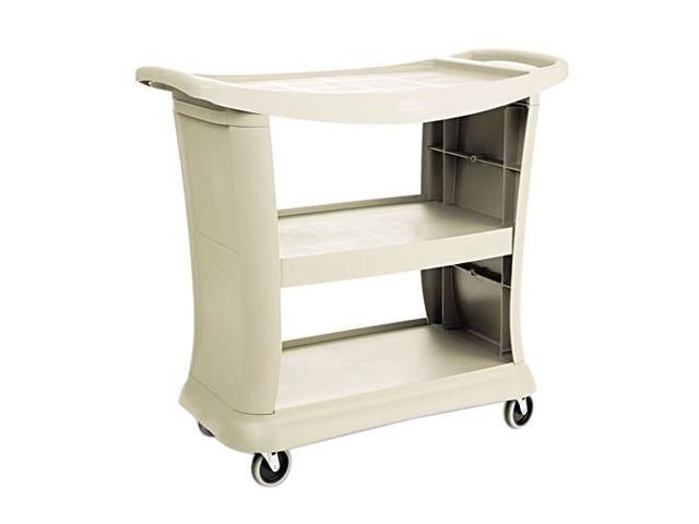 Rubbermaid Executive Service Cart, 3-Shelf, 300lbs, 20-1/3 x 38, Platinum