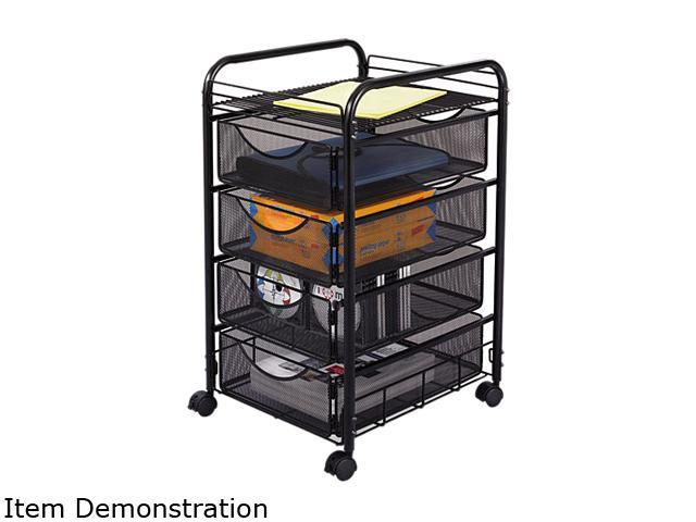 Safco Onyx 5214BL Mesh Mobile File w/Four Supply Drawers, 15-3/4w x 17d x 27h, Black