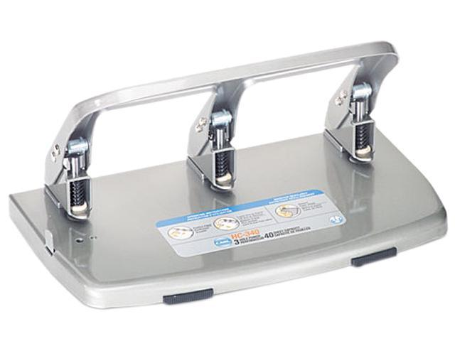CARL 63040 40-Sheet HC-340 Heavy-Duty Three-Hole Punch, 9/32 Diameter Hole, Silver