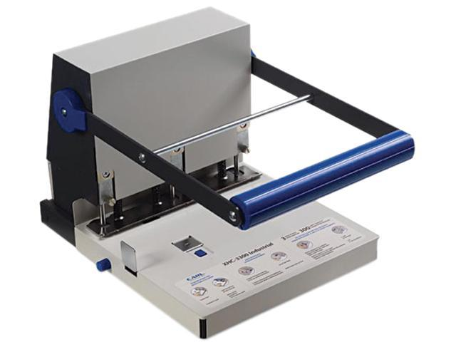 CARL 63300 300-Sheet XHC-3300 Heavy-Duty Three-Hole Punch, 9/32 Hole, Steel, Blue/Gray