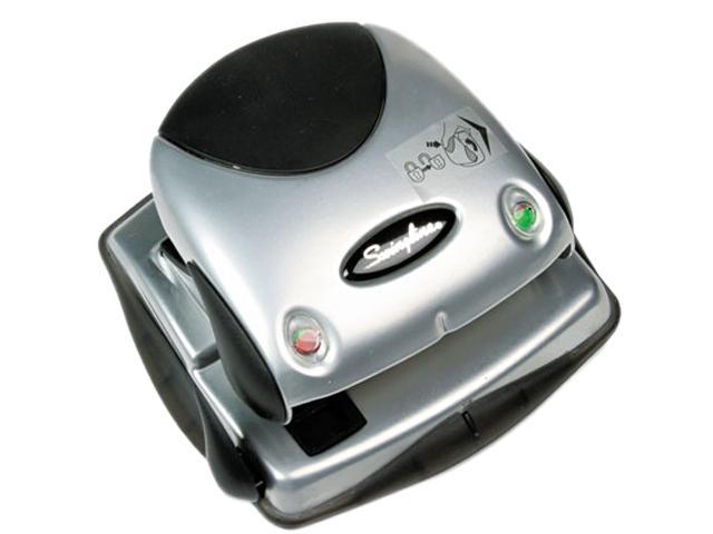 Swingline 74055 20-Sheet Easy View Two-Hole Punch, 9/32 Diameter Hole, Plastic, Black/Silver