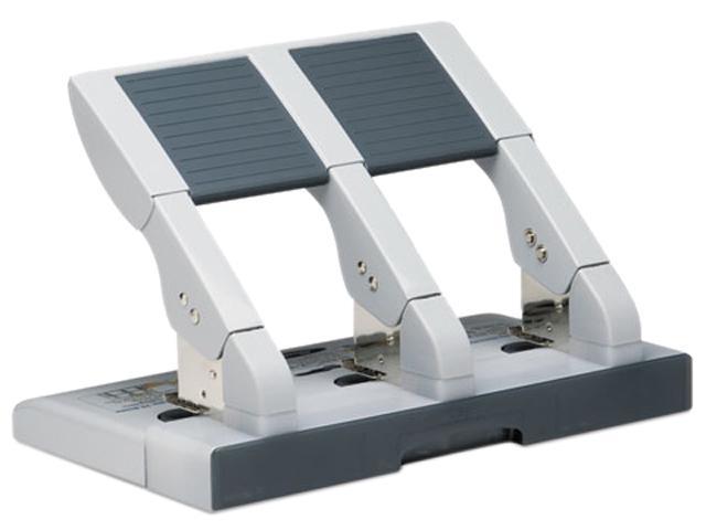Swingline 74550 75-Sheet Heavy-Duty Three-Hole Adjustable Punch, 9/32 Diameter Hole, Putty/Gray