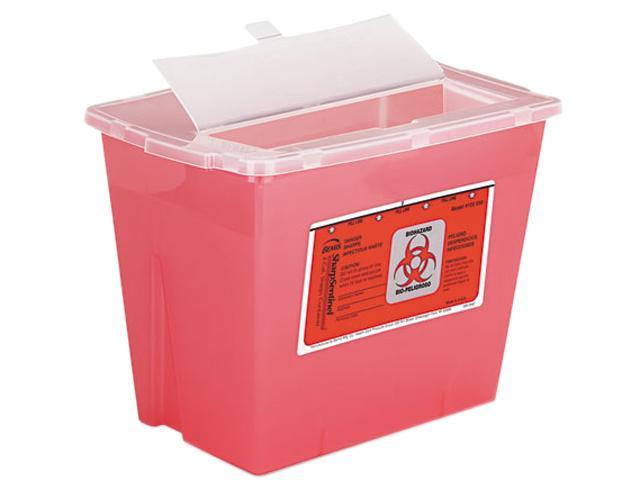 Impact 7352 Sharps Container, Square, Plastic, 2 gal, Red