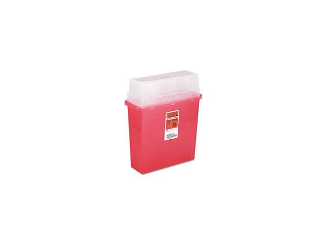 Medline MDS705203H Sharps Container for Patient Room, Plastic, 3 Gallon, Rectangular, Red