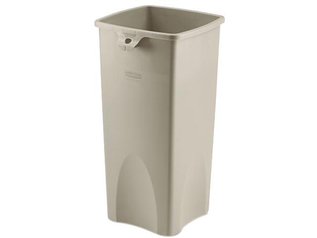 Rubbermaid Commercial 356988BG Untouchable Waste Container, Square, Plastic, 23 gal, Beige