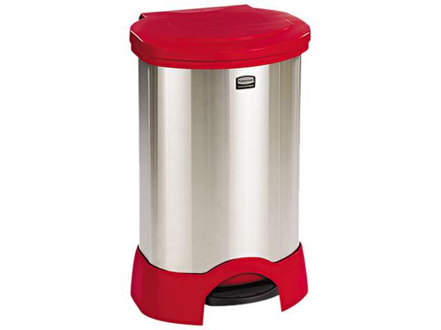 Rubbermaid Commercial 614787RD Step-On Container, Oval, Stainless Steel, 30 gal, Red