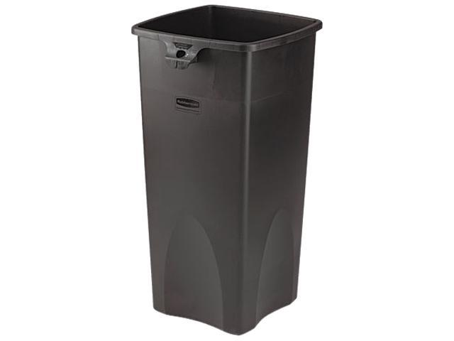 Rubbermaid Commercial 356988BK Untouchable Waste Container, Square, Plastic, 23 gal, Black