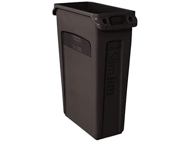 Rubbermaid Commercial 354060BK Slim Jim Receptacle w/Venting Channels, Rectangular, Plastic, 23 gal, Black